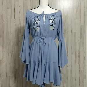 NWT Military Hippie Blue Embroidered Romper